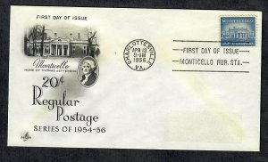 1047 Monticello ArtCraft FDC with removed address label