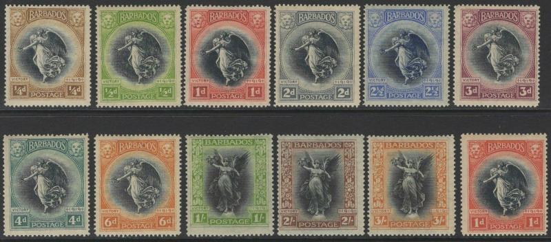 BARBADOS SG201/12 1920-1 VICTORY SET MTD MINT