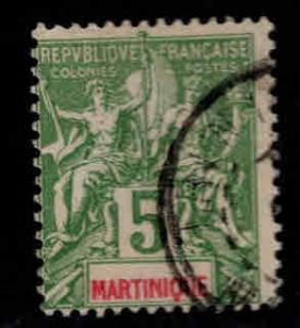 Martinique Scott 37 yellow green stamp Used