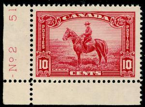 CANADA SG347, 10c Carmine, UNMOUNTED MINT MARGINAL.