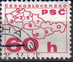 CZECH REPUBLIC, 1976 used  60h  Coil Stamps. Postal Code Campaign.
