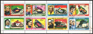 Equatorial Guinea. 1976. Small sheet 895-902. Motorcycle racing. USED.