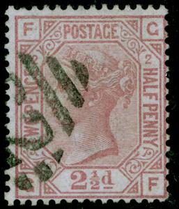SG139, 2½d rosy mauve plate 2, FINE USED. Cat £120. WMK ANCHOR. IRELAND. GF