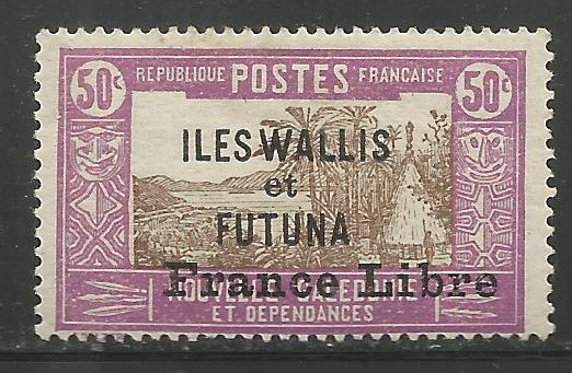 WALLIS & FUTUNA  108  MINT HINGED, NEW CALEDONIA STAMPS #57 W/ADD'L OVPT IN BLK