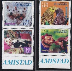 El Salvador 1546-47 MNH 2001 Pets - Dogs, Cats & Parakeets Pairs Very Fine