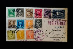 US Stamps # 704-15 Affixed to Registered Cover