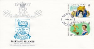 Falkland Islands # 255-256,Q E Silver Jubilee, First Day Cover