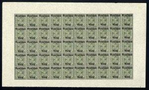w57 Wurttemberg Scott #O176 5pf green Mint OG NH full pane of 50 Scarce