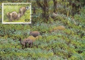 Gabon 1988 Maxicard Sc #635 40fr African forest elephant WWF