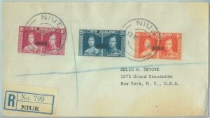 83409 - NIUE  - POSTAL HISTORY  - Registered FDC COVER  1937 ROYALTY