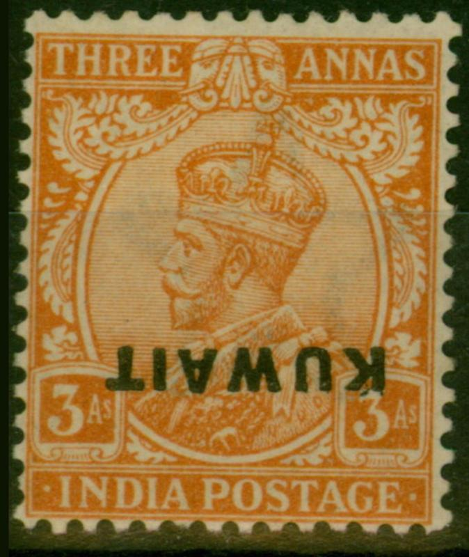 Kuwait 1923 3a Dull Orange SG6var Opt Inverted Very Lightly Mtd Mint