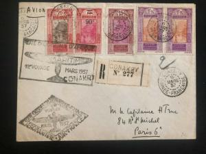1937 Conakry French Guinea First Flight Airmail cover FFC to Paris France