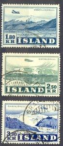Iceland Sc# C27-C29 Used 1952 1.80k-3.30k Snaefellsjokull