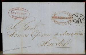 Colombia 1855 Geo Fletcher Aspinwall Cartagena Dual Agent Forwarding Cover 92133