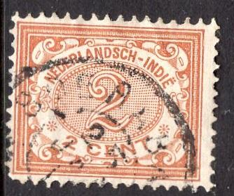 Netherlands Indies #40  1902  used  numbers  2 ct