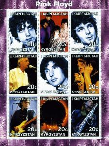 Kyrgyzstan 2000 PINK FLOYD Sheet (9) Perforated Mint (NH)