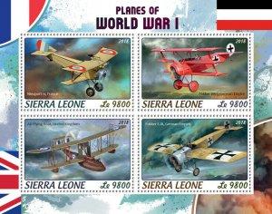 Sierra Leone Military Aviation Stamps 2018 MNH WWI WW1 Planes World War I 4v M/S