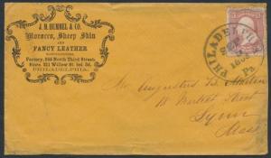 1863 #65 CLASSIC ADVT COVER J.M. HUMMEL & Co. MOROCCO, SHEEPSKIN BR3578 HSAM
