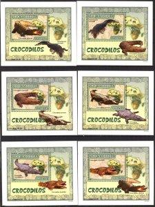 {125} Mozambique 2007 Crocodiles 6 S/S Deluxe MNH**