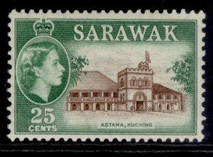 SARAWAK QEII SG197, 25c sepia & green, M MINT.