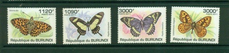 Burundi #887-90 (2011 Butterflies set) VFMNH CV $15.00