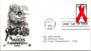 Aids Awareness Education & Prevention First Day Cover 1993 cachet