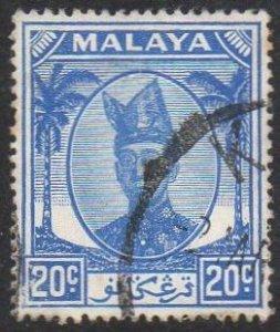 Trengganu 1952 20c bright blue used