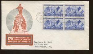 1952 Georgetown South Carolina Arrival of Lafayette in American First Day Cover