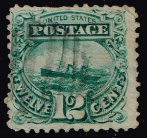 US STAMP #117 – 1869 12c S.S. Adriatic, green Pictorial Issue USED
