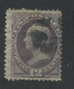 1870 US Stamp #151 12c Used Average Faults Cork Cancel Catalogue Value $210