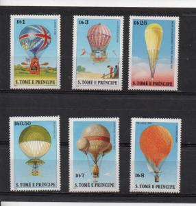 St. Thomas & Prince Islands MNH 555-60 Hot Air Balloons SCV 9.25