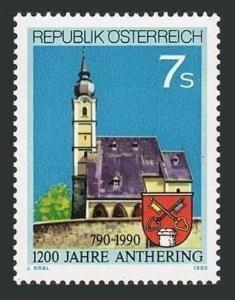 Austria 1500,MNH.Michel 1986. Anthering,1200th Ann.1990.Church,arms.