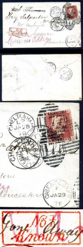 Penny Red SG43 Plate 185 Not Known cover with loads of cancels