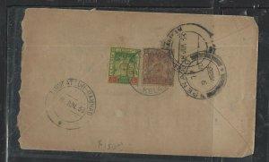 MALAYA KELANTAN  (PP1008B) 1933 ARMS 5C+3C KOTA BHARU TO INDIA