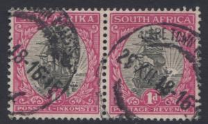 SOUTH AFRICA - Scott 24 - Ship Riebeeks -1926- FU - Horiz. Pair of 1p Stamps