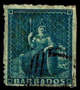 1859 Barbados #10 Britannia Pin Perf 14 - Used - VF - CV$175.00 (ESP#4043)
