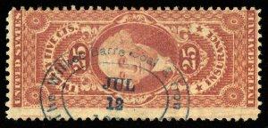 B645 U.S. Revenue Scott #R44c 25c Certificate, Wilkes Barre Coal & Iron Co. cxl