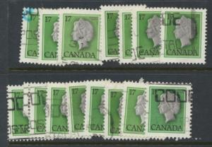Canada SG 869 selection x 15 used  various shades