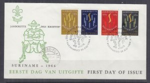 SURINAME, 1964 Scout Jamborette set of 4 on Illustrated First day cover.