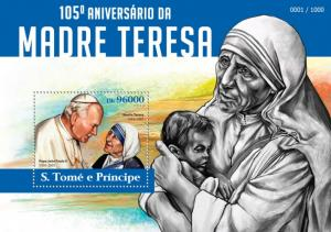 SAO TOME E PRINCIPE 2015 SHEET MOTHER TERESA NOBEL PRIZE st15308b