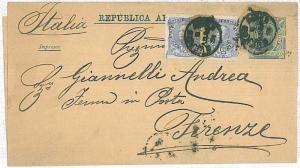 ARGENTINA -  POSTAL HISTORY - NEWSPAPER WRAPPER to ITALY 1881