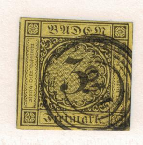 Baden (German State) Stamp Scott #2, Used, Four Margins - Free U.S. Shipping,...