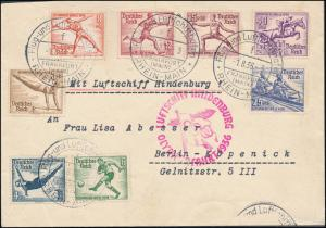 1936 Germany LZ 129 Hindenburg Zeppelin Olympics Cover to USA comp set # B82-B89
