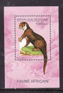 Guinea-Sc#1285-unused NH sheet-Animals-Otter-1995-