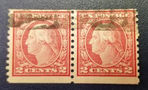 SC #453 2 Cent Rose Coil Pair Used