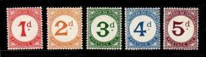 Tristan da Cunha Scott J1-5 Mint NH (Catalog Value $24.00)