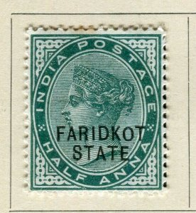 INDIA; FARIDKOT 1886 early classic QV Optd. issue Mint hinged 1/2a. value