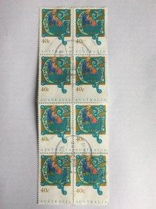 Australia 1993 40c Christmas block of 8 used
