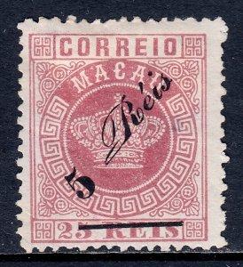 Macao - Scott #17 - MH - Thin, sm. crease LL cnr., no gum as issued - SCV $21