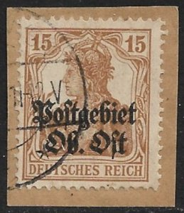 LITHUANIA 1916-17 15pf GERMAN OCCUPATION EASTERN COMMAND Issue Sc 1N6 VFU Piece